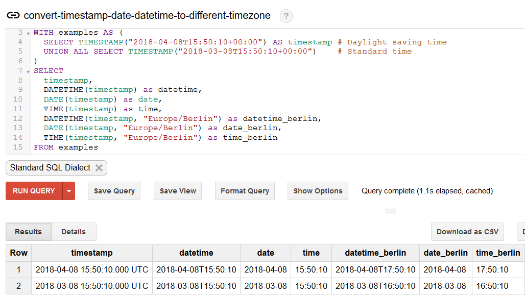 BigQuery Console: Convert timestamp to different timezone example