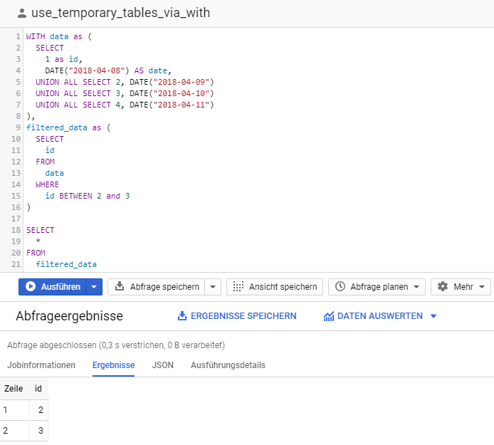 BigQuery Console: How to use temporay tables via WITH named subqueries example