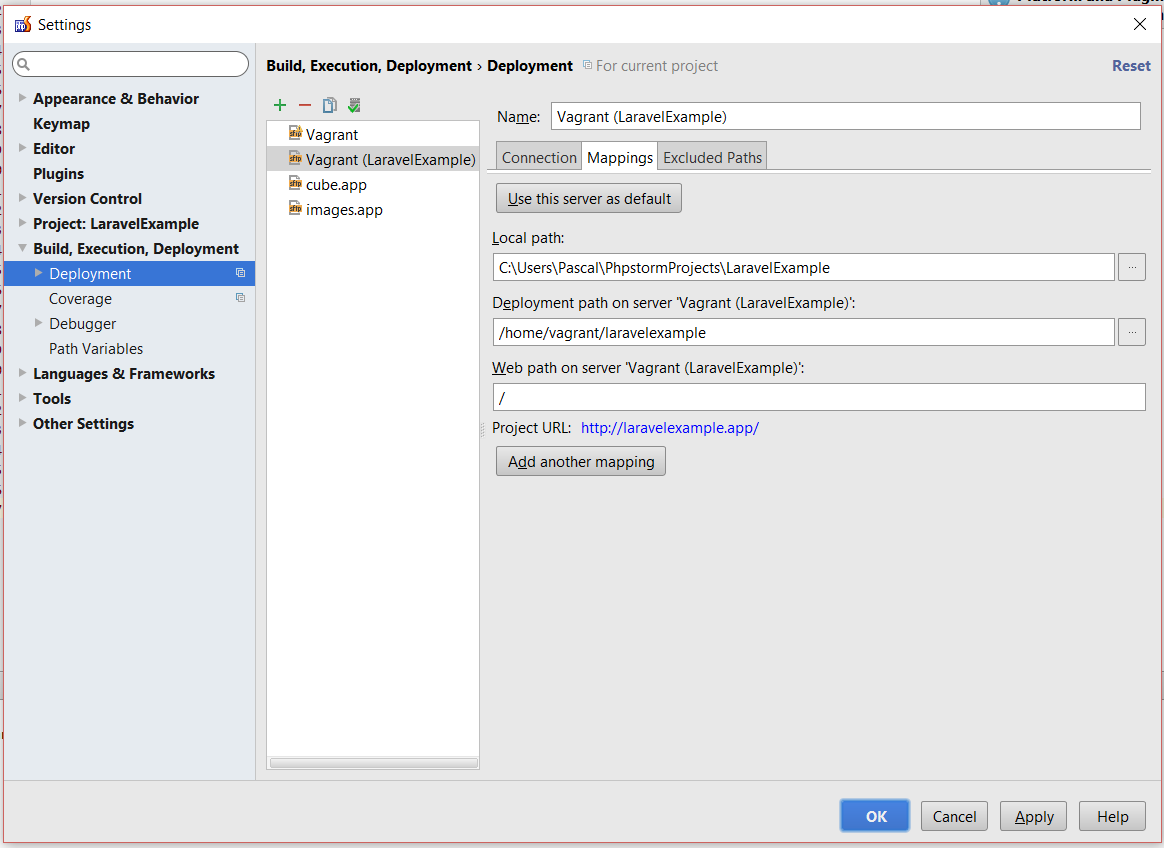 PhpStorm Deployment Configuration Mappings settings