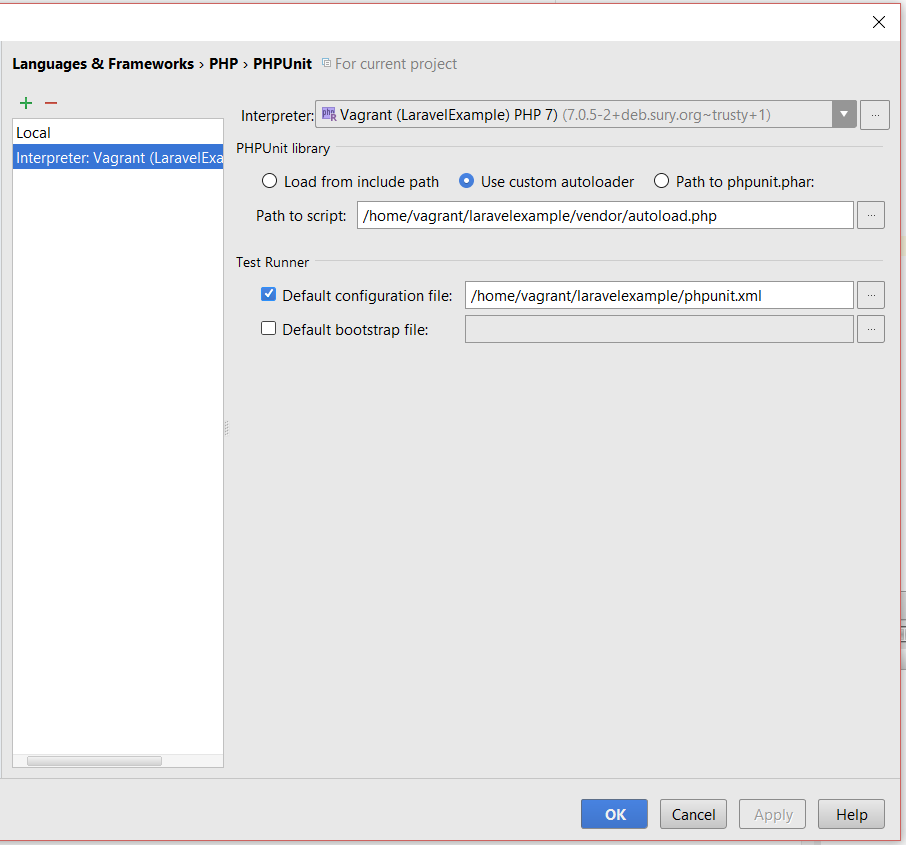 How to setup Laravel with PHPUnit on Vagrant in PhpStorm