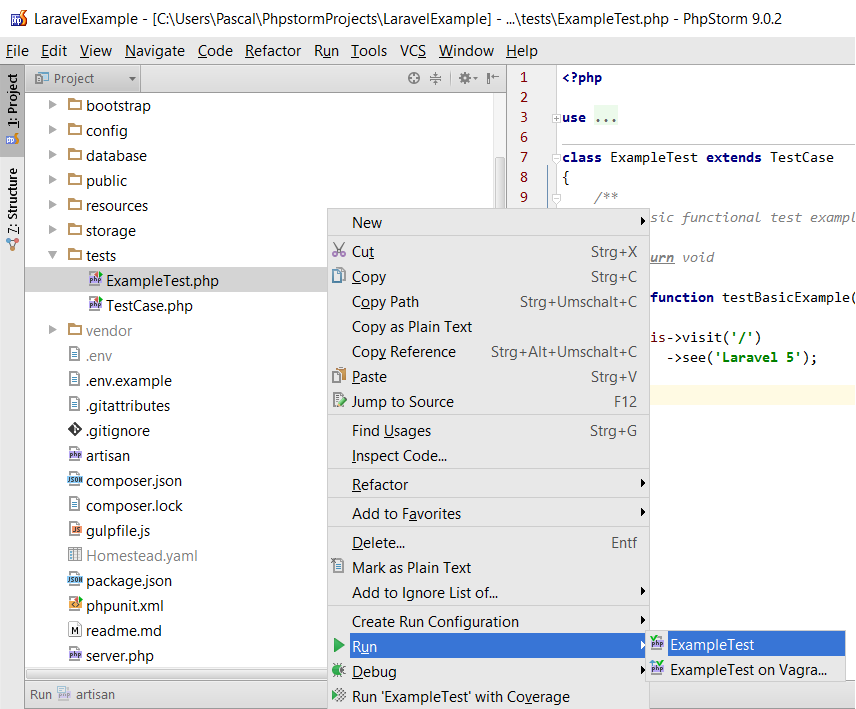 How to setup Laravel with PHPUnit on Vagrant in PhpStorm [Tutorial
