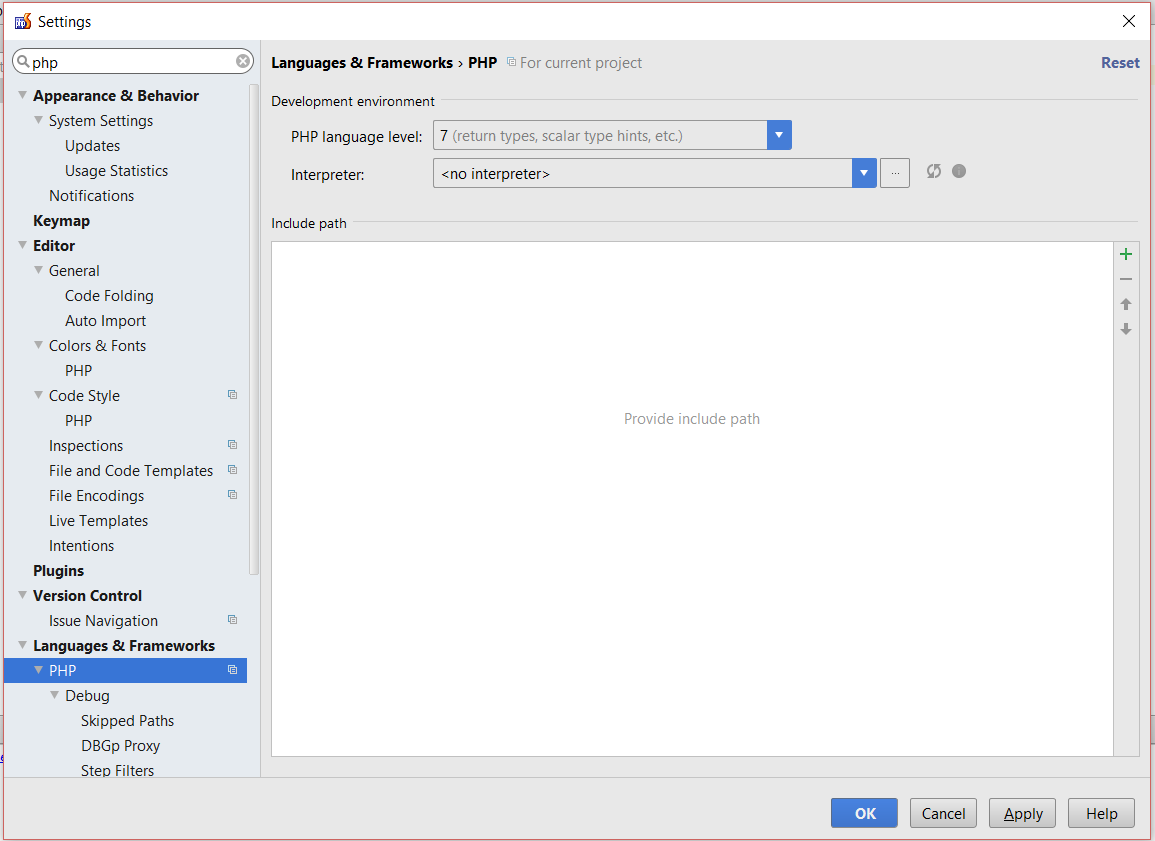 Select a new PHP interpreter in PhpStorm
